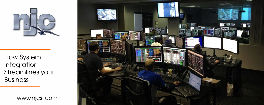 System integration specialists on computers